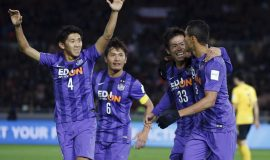 Douglas (R) of Japan's Sanfrecce Hiroshima celebrates with teammates after scoring during their Club World Cup third-place soccer match against China's Guangzhou Evergrande in Yokohama, south of Tokyo, Japan, December 20, 2015. REUTERS/Toru Hanai  Picture Supplied by Action Images